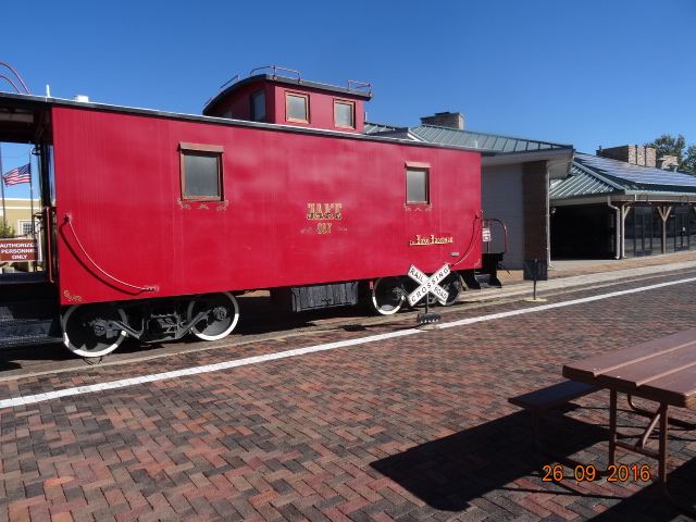 A preserved caboose, photographed in Williams, Arizona, on 26 September 2016
